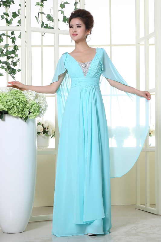 2017 New Style A Line Light Sky Blue Chiffon Long Prom Dresses With