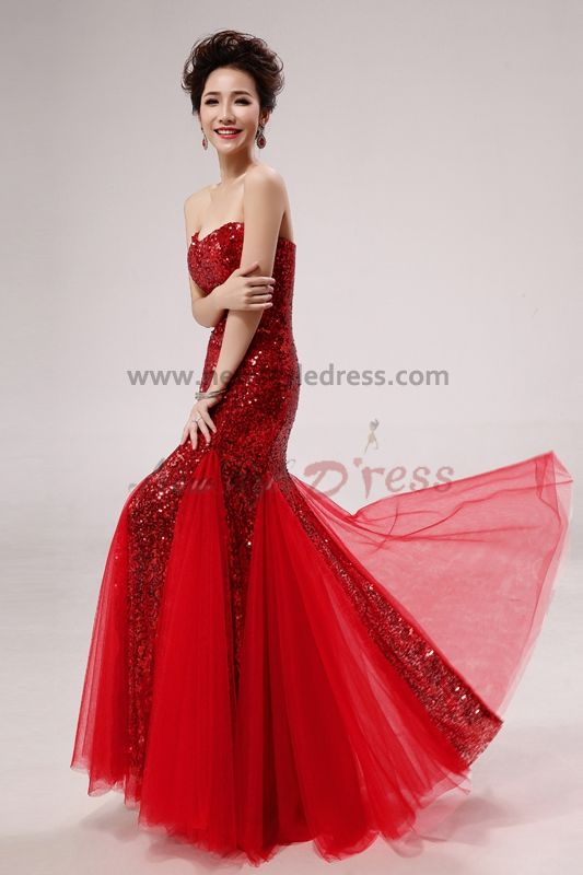 2017 new style red sequins mermaid trumpet prom dresses np
