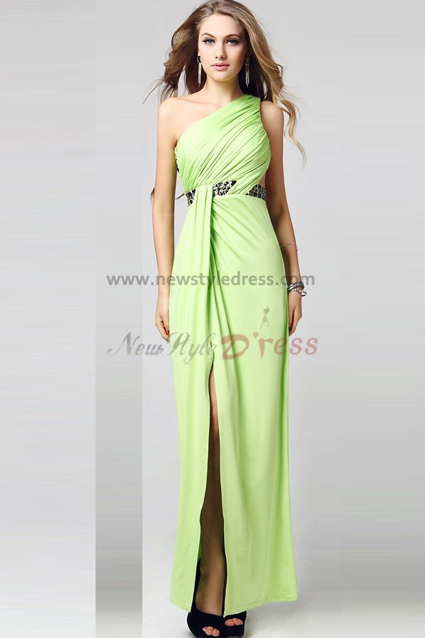 2014 new style light green side slits oblique band prom