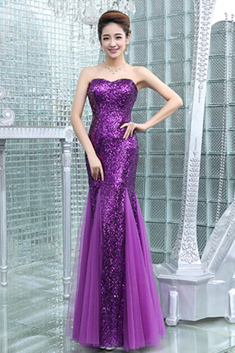 2017 New Style Red Sequins Mermaid Trumpet Prom Dresses np-0263 - Red