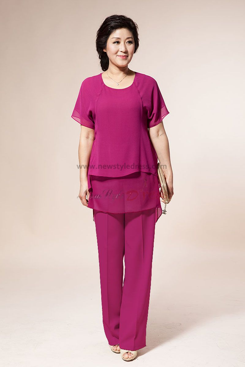 rose red Chiffon mother of the bride pants suits with ...