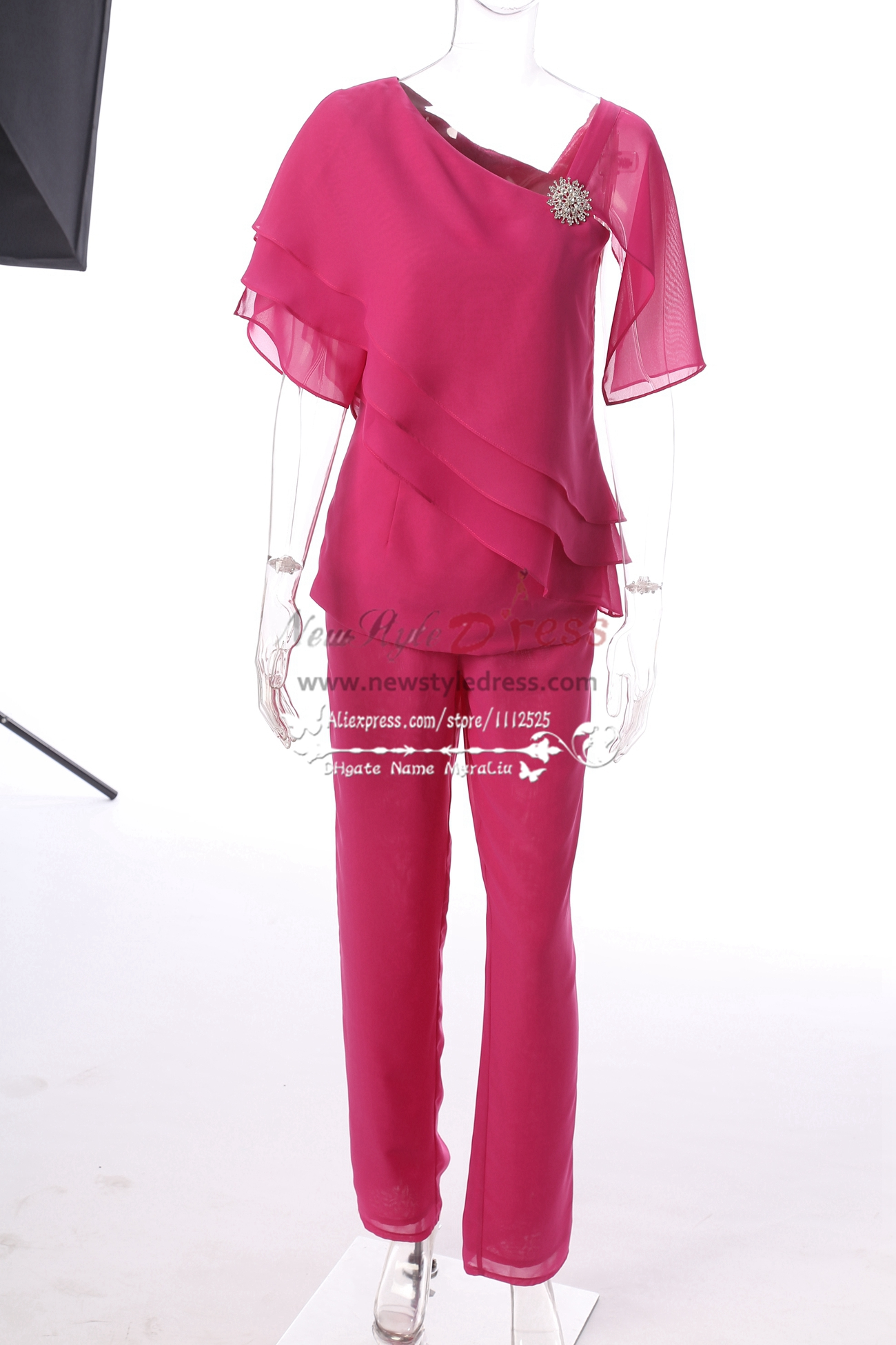 2018 two piece fuchsia chiffon trousers suit mother of the for Wedding dress pant suits