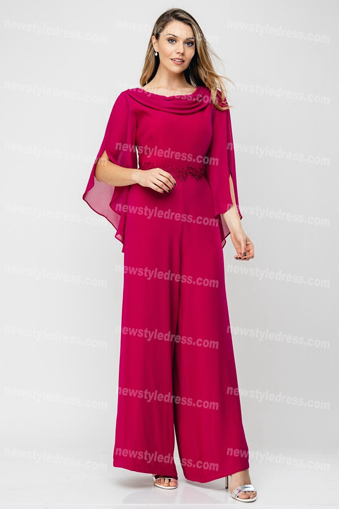 2020 Hot Sale Rose Red Mother of the bride pants suits ...