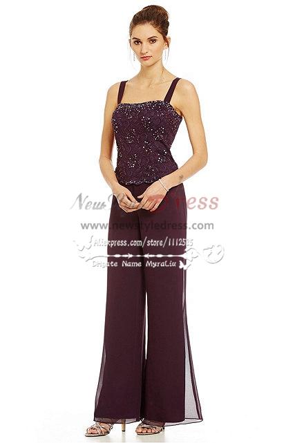 3pc Elegant Mother Of The Bride Pant Suits Dress Lace