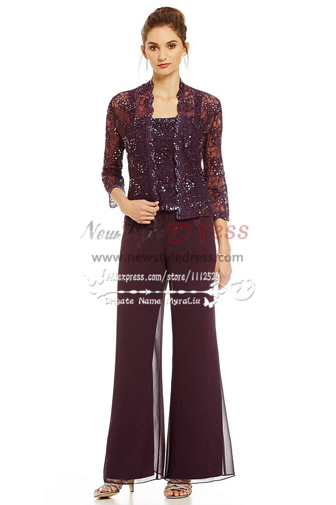 3pc elegant mother of the bride pant suits dress lace for Wedding dress pant suits