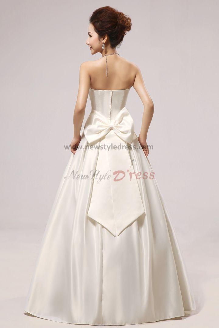 Satin Strapless Floor Length Bow Wedding Dresses Nw 0049