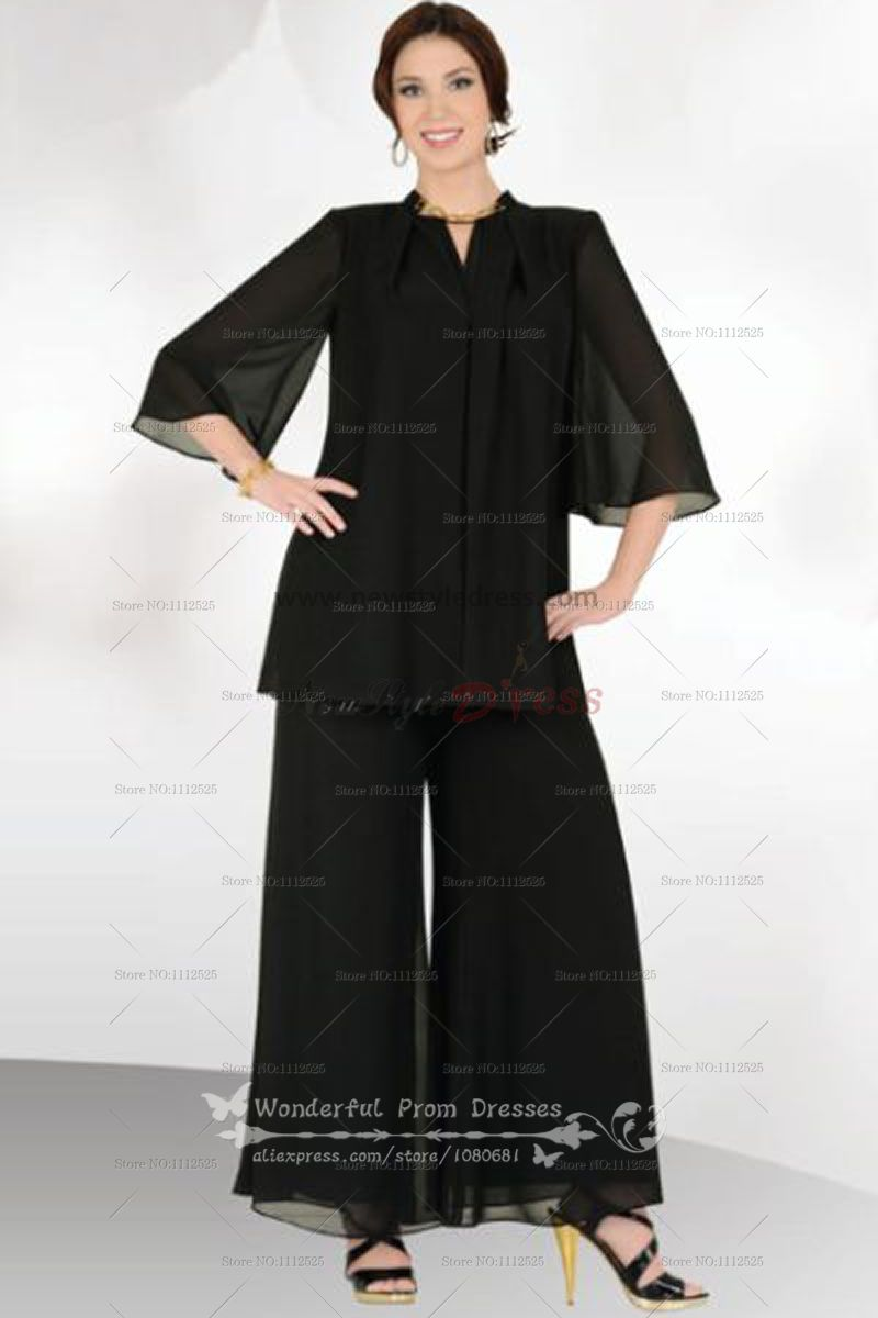 6ce5751c54 Black cheap Loose Two Picec mother of the dress pants suits with Short  Sleeves nmo-