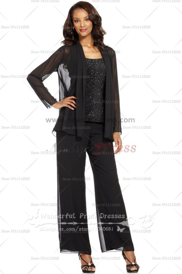 Black Mother Of The Wedding Pants Suits With Sequins Vest