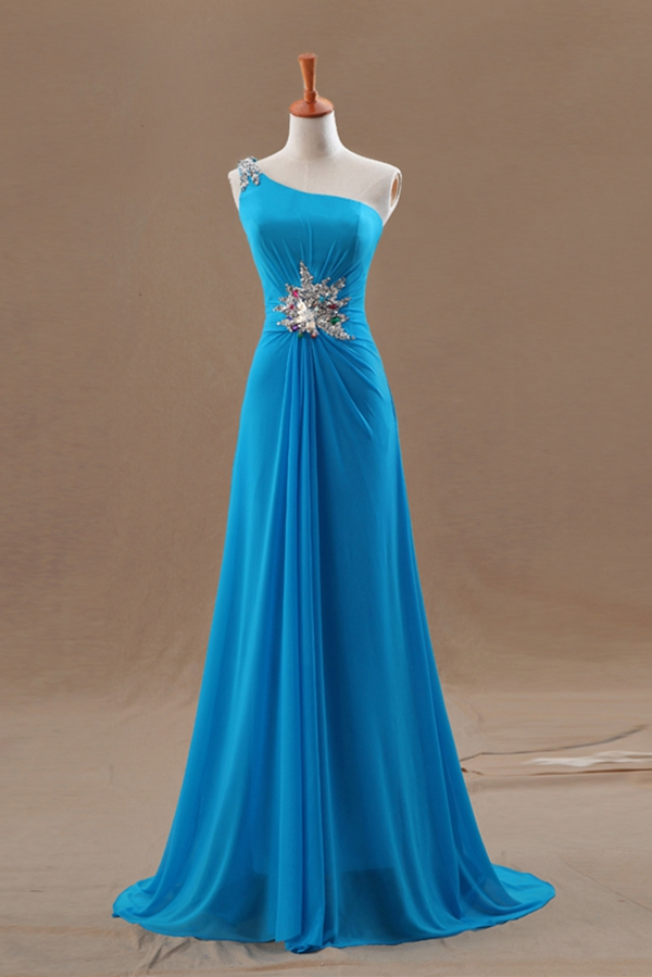 ... / Blue One Shoulder Chiffon Crystal Hot Sale long prom dress np-0251
