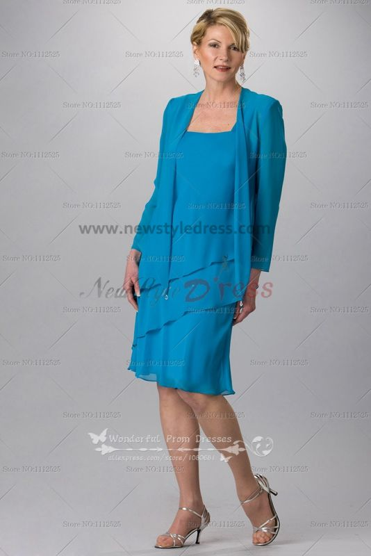 Blue chiffon Knee-Length mother of the bride dress for the beach ...