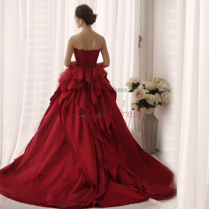 Burgundy Chiffon Multilayer Strapless Sweep Train Classic Wedding Gown Nw 0165