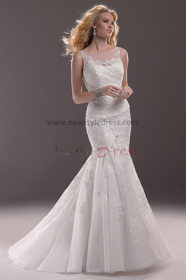 Affordable Mermaid Style Wedding Dresses : Cheap sheer straps mermaid lace sheath elegant wedding
