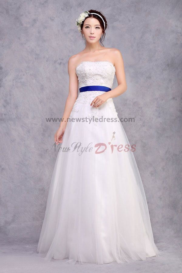 Cheap a line strapless lace appliques wedding dresses with for Blue sash for wedding dress