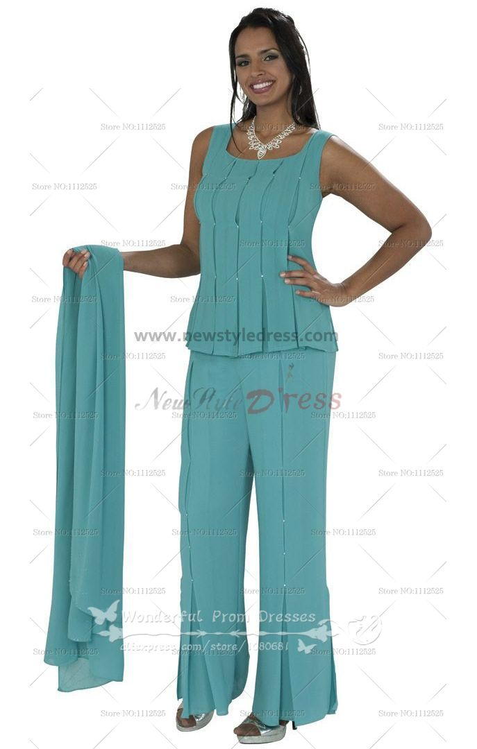 Chiffon  Three Piece  mother of the bride pantsuits With cape