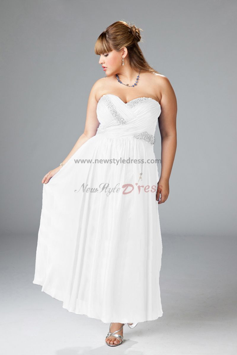Column plus size sweetheart ankle length simple wedding for Simple ankle length wedding dresses