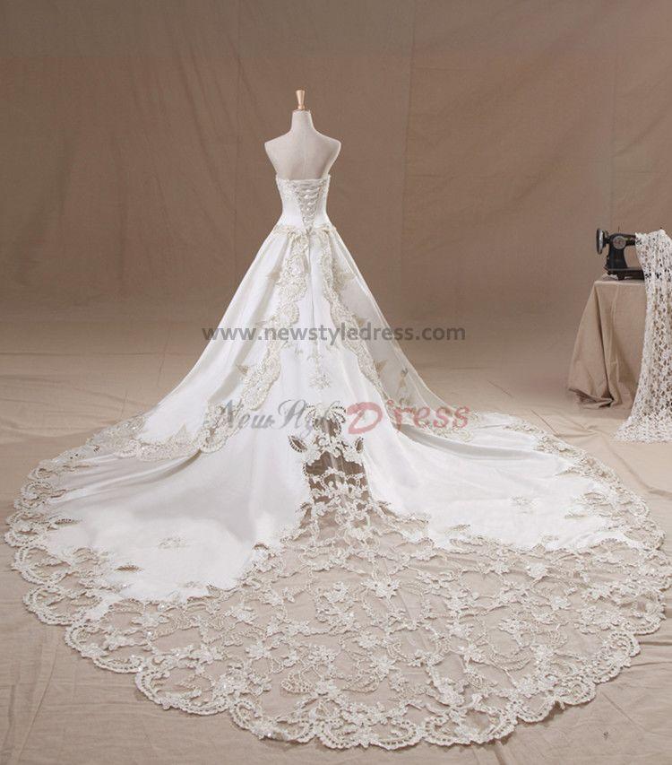Strapless elegant a line appliques royal train wedding for Wedding dresses with royal length train