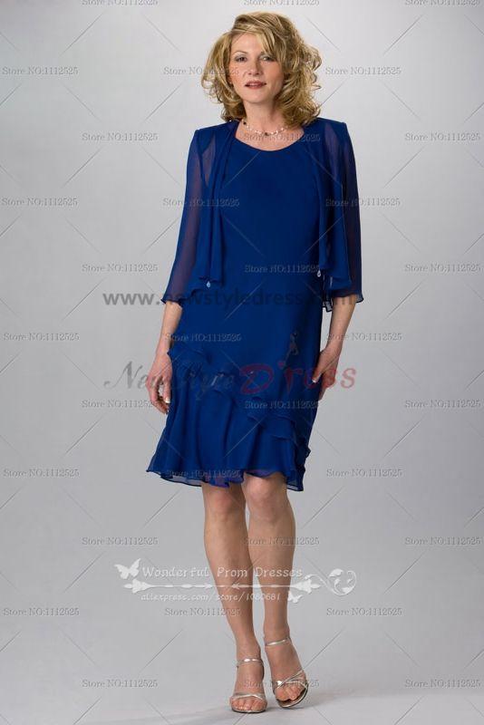 Elegant Royal Blue 2 Piece Mother Of The Bride Dress Jacket And Skirt Cms 062