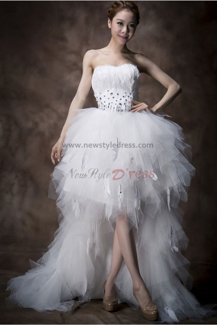 Front short long tiered feathers crystal wedding dresses for Short feather wedding dress