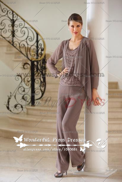 Home georgette trousers mother of the bride dress pants suit nmo 063