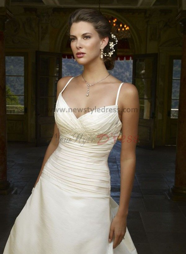 A line spaghetti ruched sweep train cheap informal wedding for Informal wedding dresses cheap