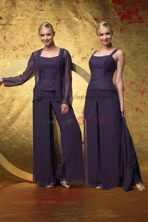 Grape scoop spring cheap three piece mother of the bride for Dress pant suits for weddings