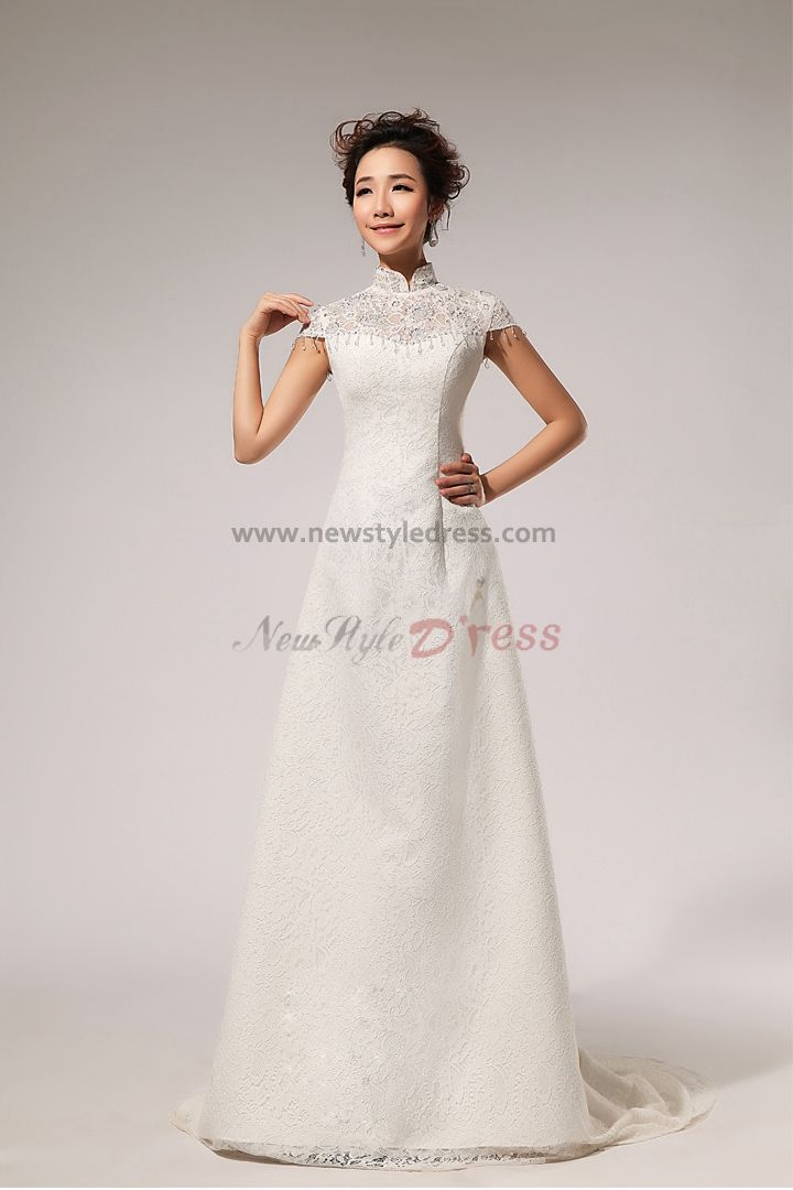 High collar a line lace wedding dresses chapel train for High collared wedding dress