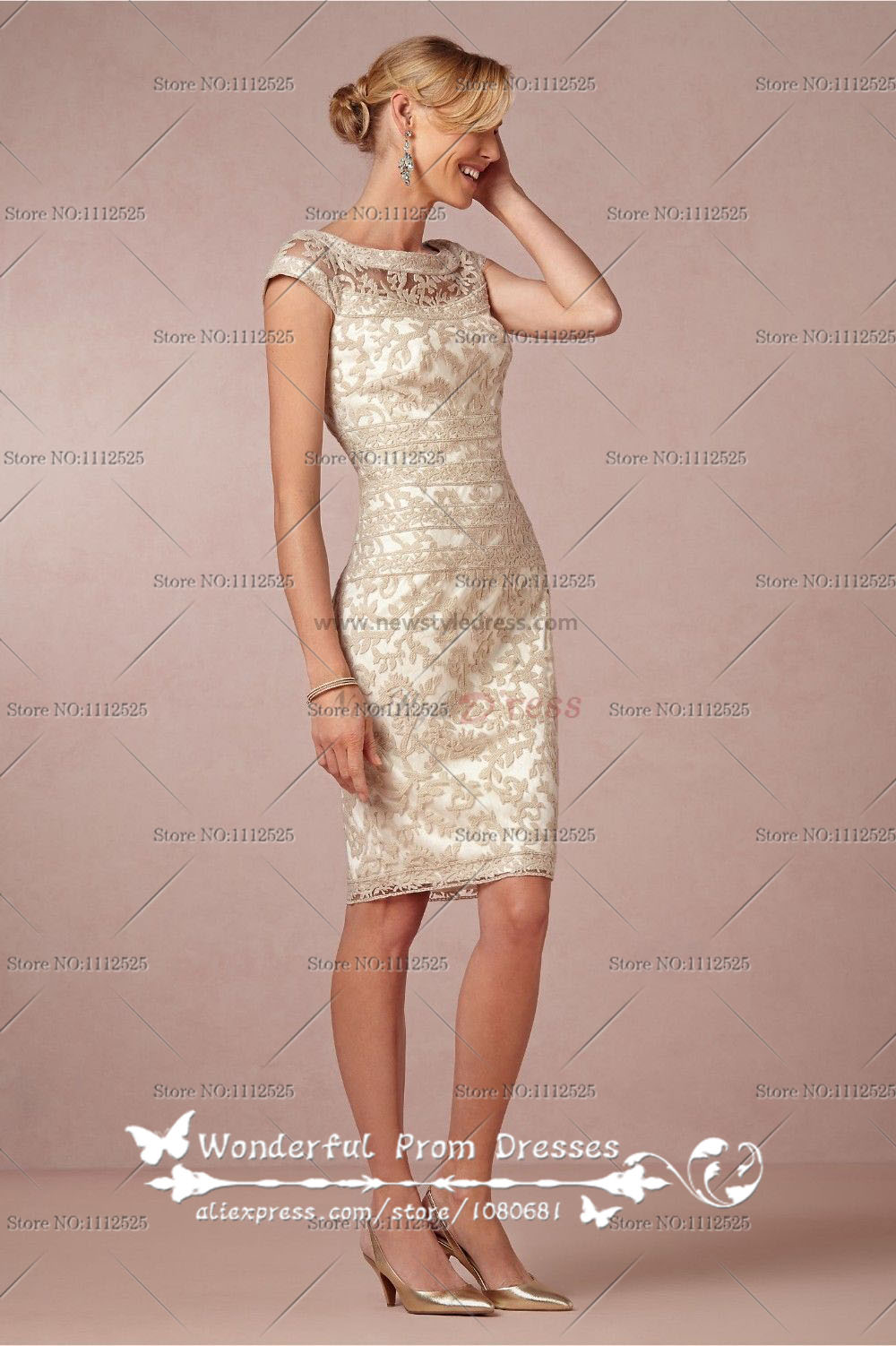 Home elegant short lace mother of the bride dress cms 001
