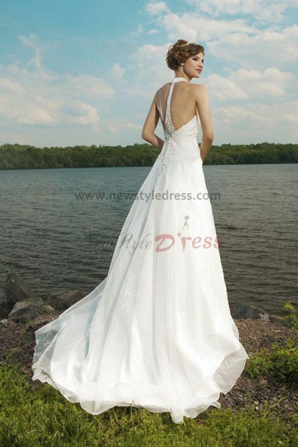 Halter style beach wedding dresses junoir bridesmaid dresses for Halter wedding dresses beach