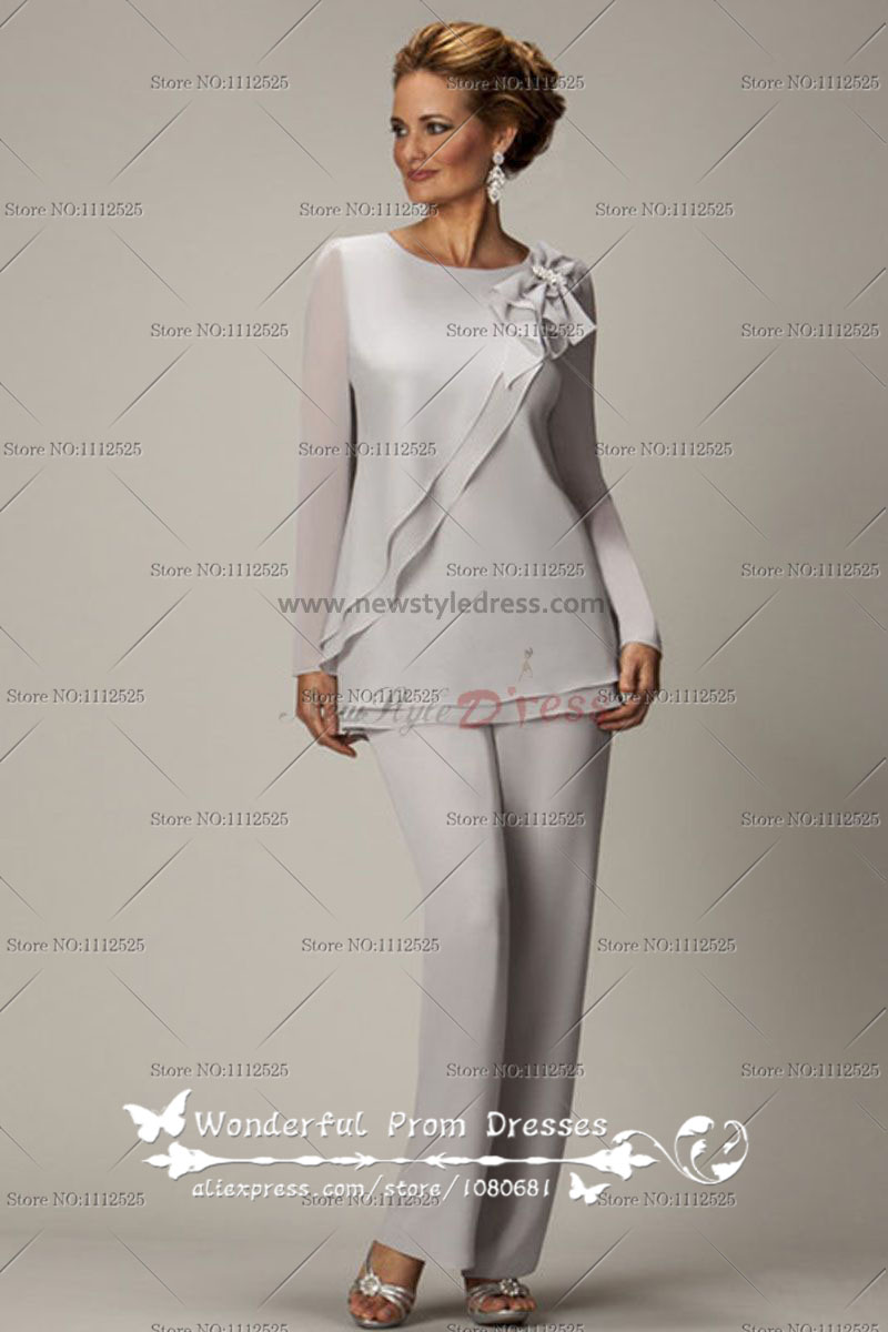 609d3d995c574 Long Sleeves Light Gray Two piece Chiffon mother of the bride pants suits  nmo-020