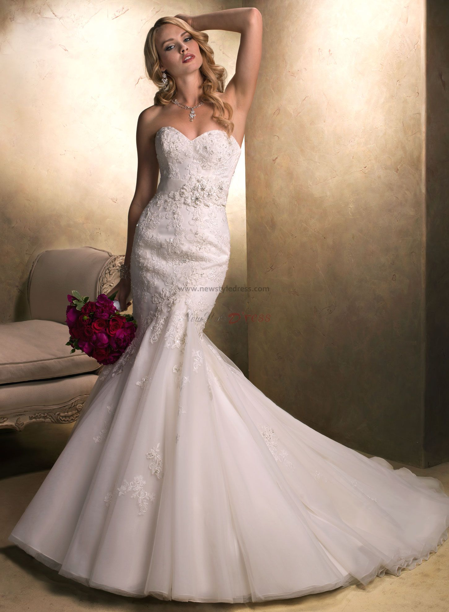 Sweep Train Mermaid lace Elegant Sweetheart Cheap wedding
