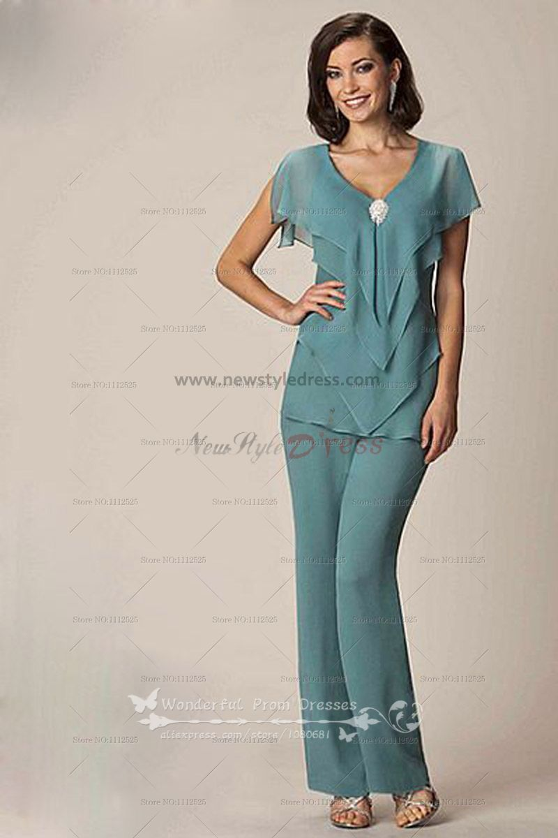 Modern Cheap Chiffon Two Picec mother of the bride pants suits nmo-032