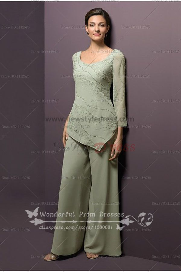 5222bd89605 Modern scoop two Piece mother of the bride dress pants sets nmo-080