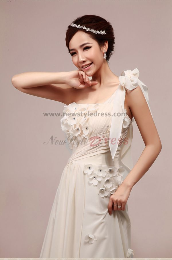 One shoulder brush train a line empire glamorous chiffon for Wedding dresses for big chest