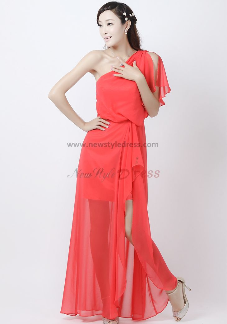 One Shoulder Watermelon red Chiffon Prom Dresses np