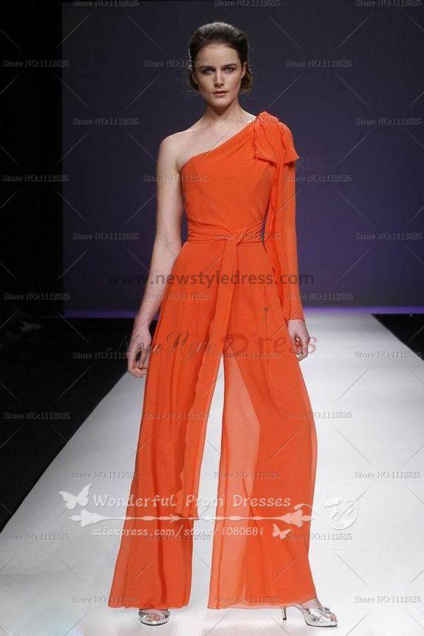 orange one shoulder spring popular pants sets prom dress