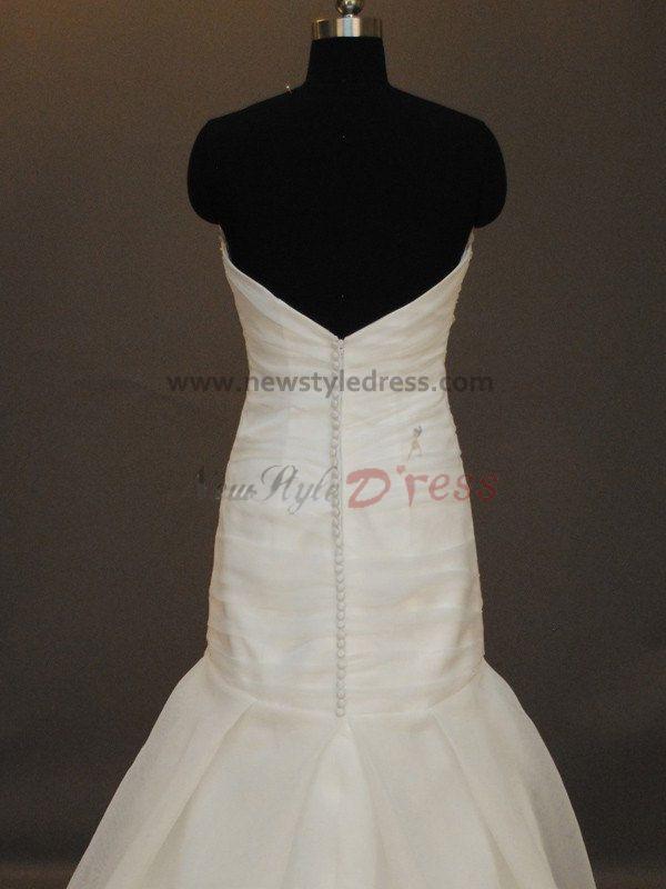Pleat chapel train mermaid sheath strapless satin zipper for Modern elegant wedding dresses
