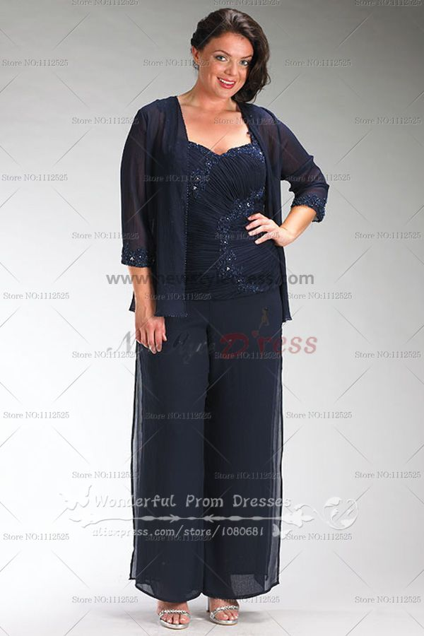 Plus Size Dark Navy Chiffon Three Piece Mother Of The Bride Dress