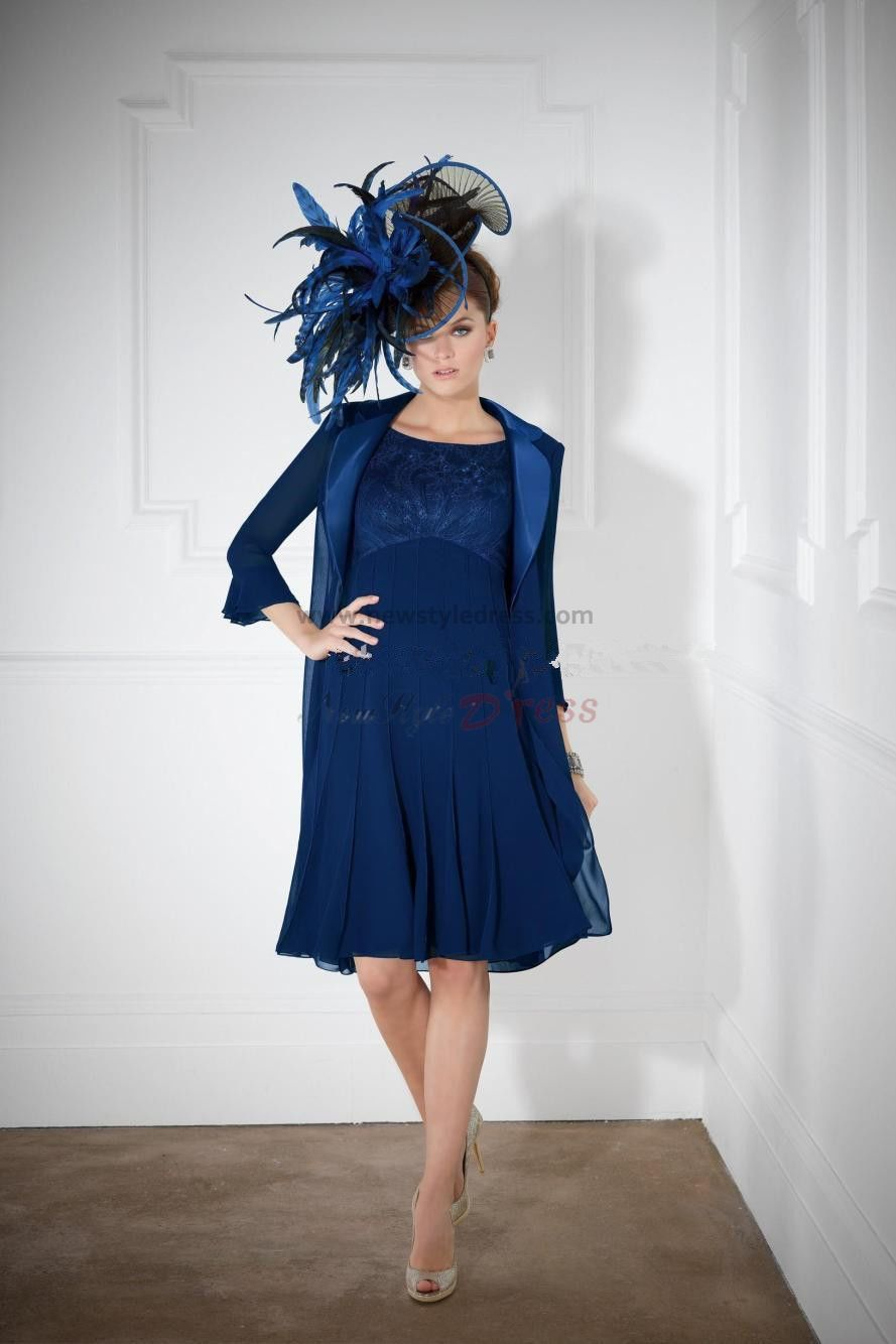 Fashion Royal Blue Knee Length Mother Of The Bride Dress