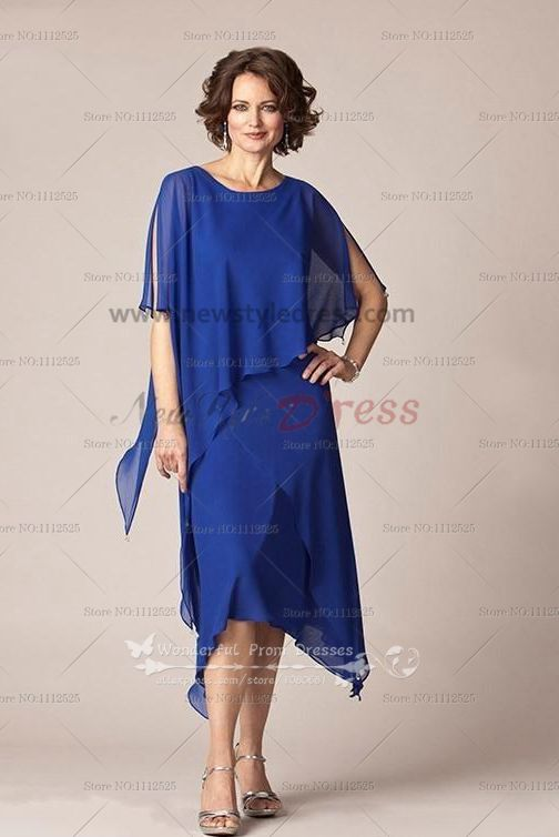 Royal Blue Chiffon Mid Calf Mother Of The Bride Dress Cozy Suit Cms 038