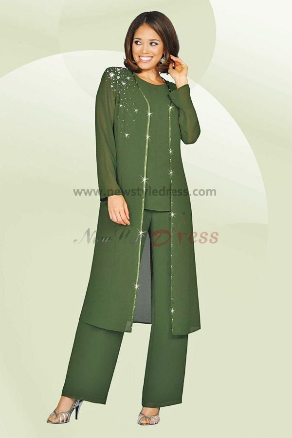 Sage three piece mother of the bride pants suits with long jacket nmo