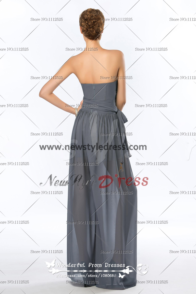 Strapless Sequins Fashion charcoal grey Women\'s Jumpsuits nmo-113