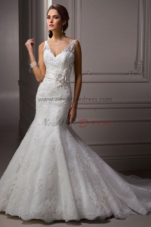 Sheer straps mermaid lace sheath glamorous waist with for Mermaid wedding dress with straps