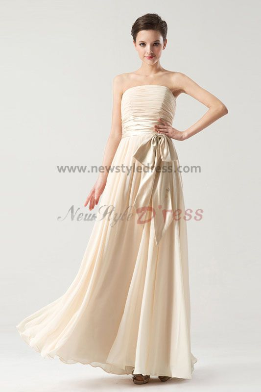 Strapless A-Line Nude Chiffon long Belt Bridesmaids