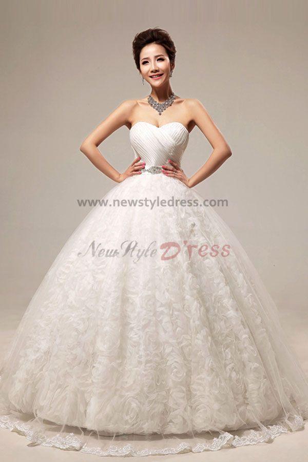 Sweetheart Ball Gown Handmade Flower Floor Length Wedding Dresses Wholesale Nw 0081