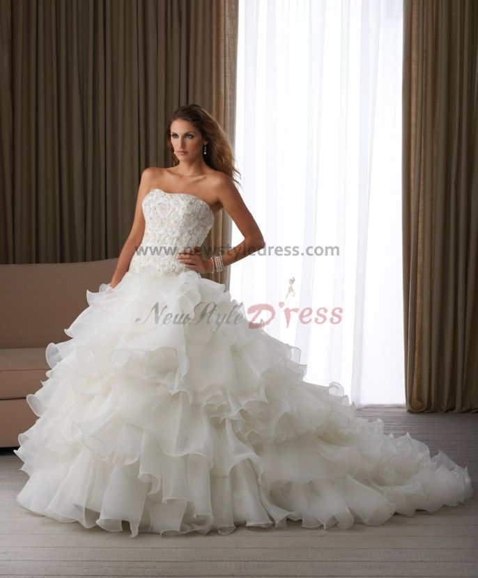 Wedding Gown Under 200: Sweetheart Chest Beading Ruched Elegant Chapel Train