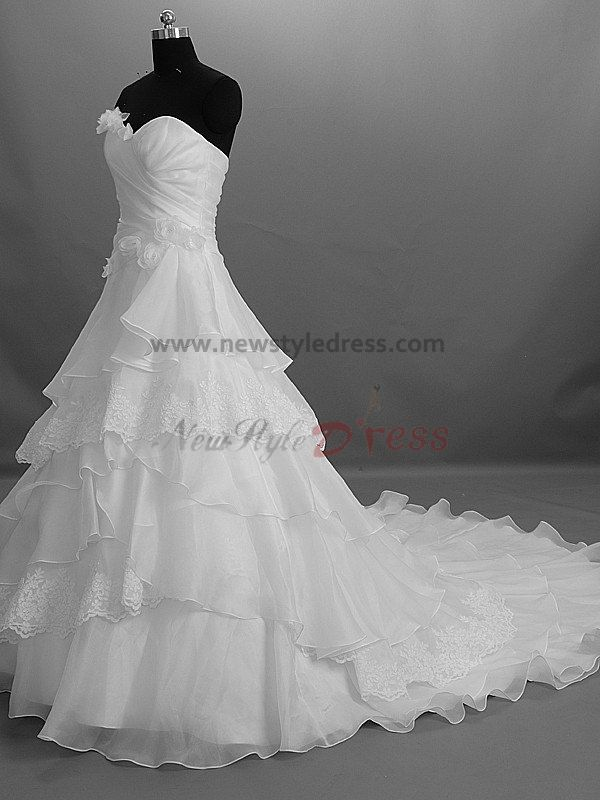 Tiered flowers zipper up strapless a line modern chapel for Bra for strapless wedding dress