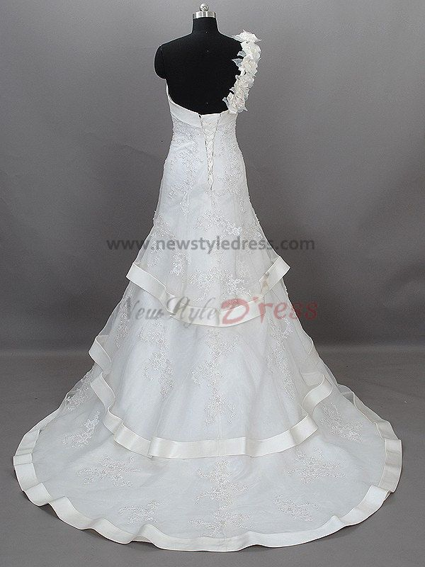 Tiered embroidery one shoulder lace up a line informal for Casual wedding dresses for winter