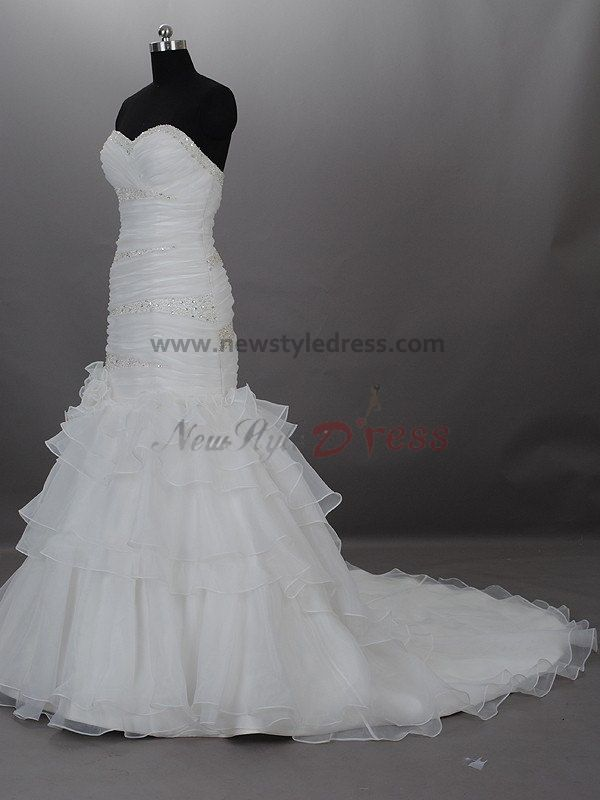 Tiered sheath sexy a line strapless draped beading built for Bra for strapless wedding dress