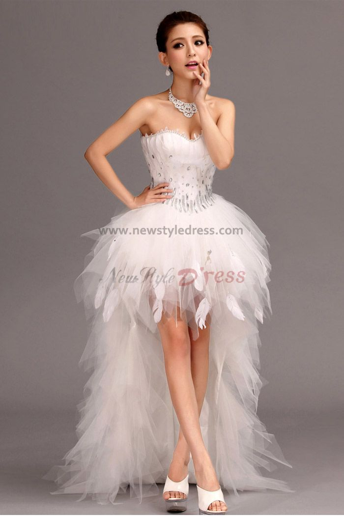 White Feathers Front Short Long Tiered Hot Sale Cocktail