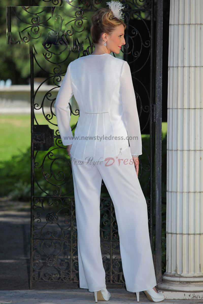 white Chiffon mother of the bride pants suits wedding nmo-024 ...